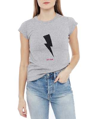 Zadig & Voltaire Skinny Flashlight Just Zadig Cotton T-Shirt Melange Grey