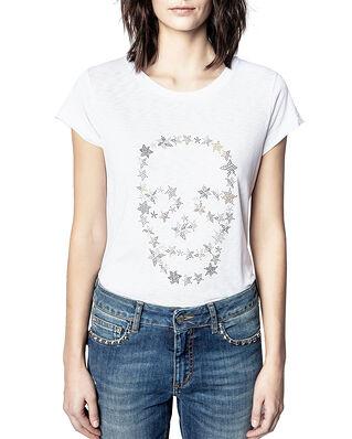 Zadig & Voltaire Skinny Strass Skull Stars Co/Modal T-Shirt Blanc