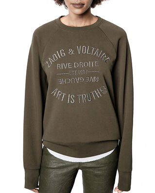 Zadig & Voltaire Upper Blason Brode Tonal Embroidered Cotton Sweatshirt