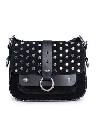 Zadig & Voltaire Kate Suede + Smooth Calfskin With Studs Black