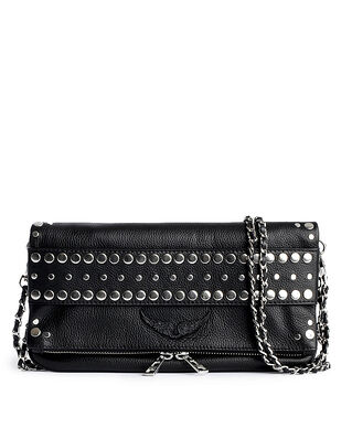 Zadig & Voltaire Rock Strap Grained Leather + Studs Outline Black