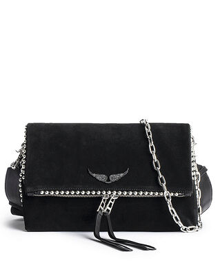 Zadig & Voltaire Rocky Suede + Studs Piping Black