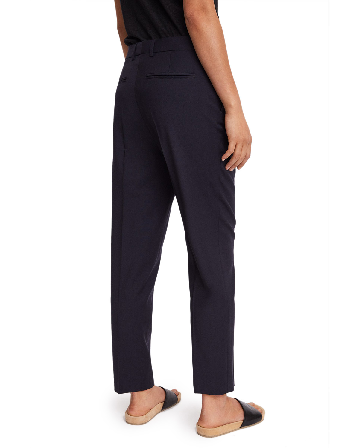 Emma Cropped Cool wool Trouser Dk. Navy