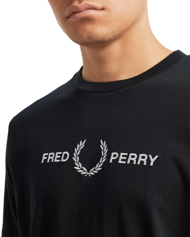 Fred Perry Graphic T shirt Black Menn Klær T skjorter Logo T