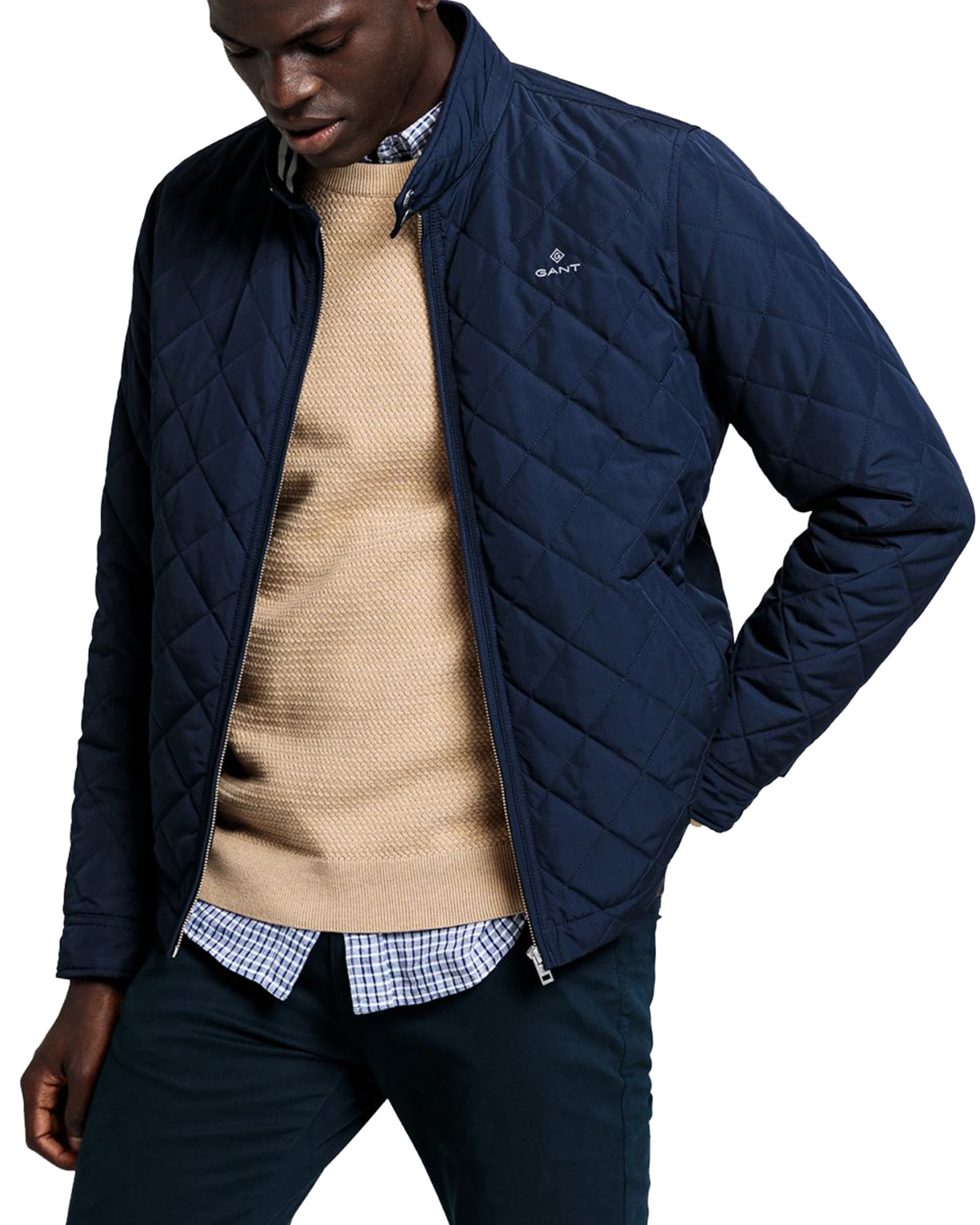 D1. The Quilted Windcheater Evening Blue