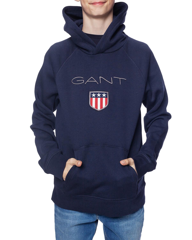 Gant Shield Logo Hoodie Evening Blue (906652) • Se priser