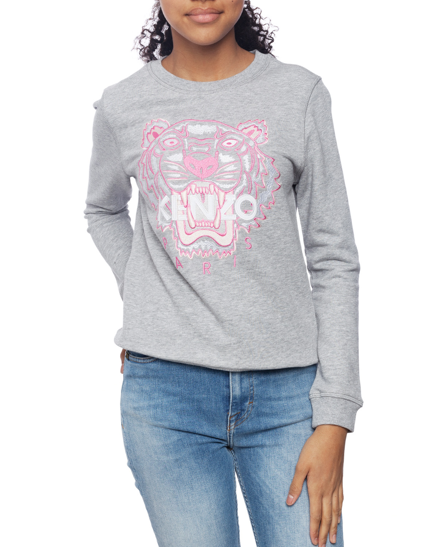 Kenzo Tiger Junior Girl Grey Sweatshirt