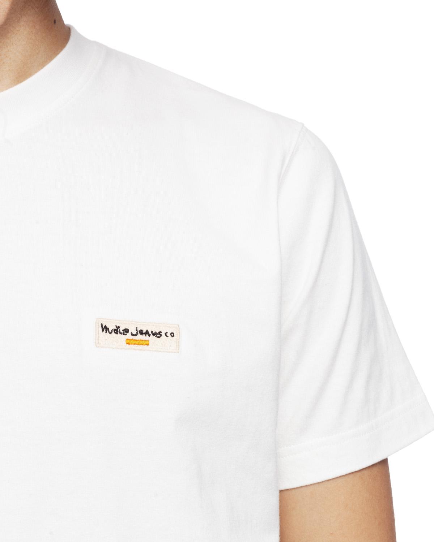 Nudie Jeans T Skjorte Daniel Logo Offwhite